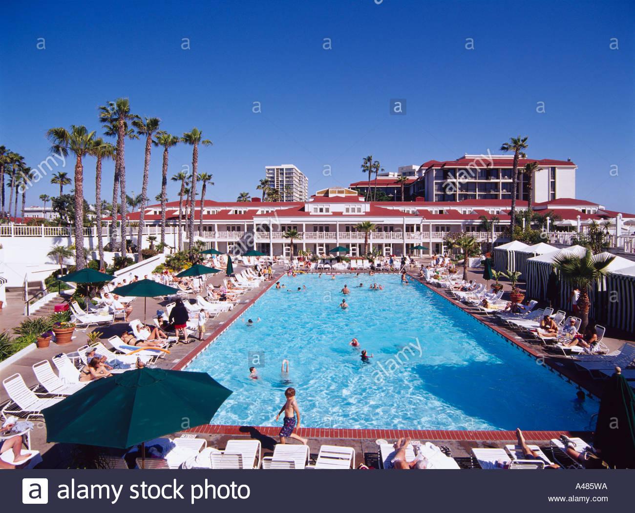 Coronado Hotel San Diego California America Blue Sky Pool Parasol Stock Photo Royalty Free
