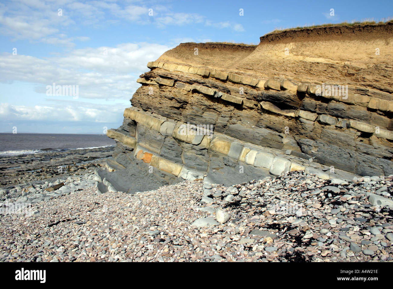 Alternating bands of limestone and shale visible at the cliffs Kilve Beach Somerset England Stock Photo