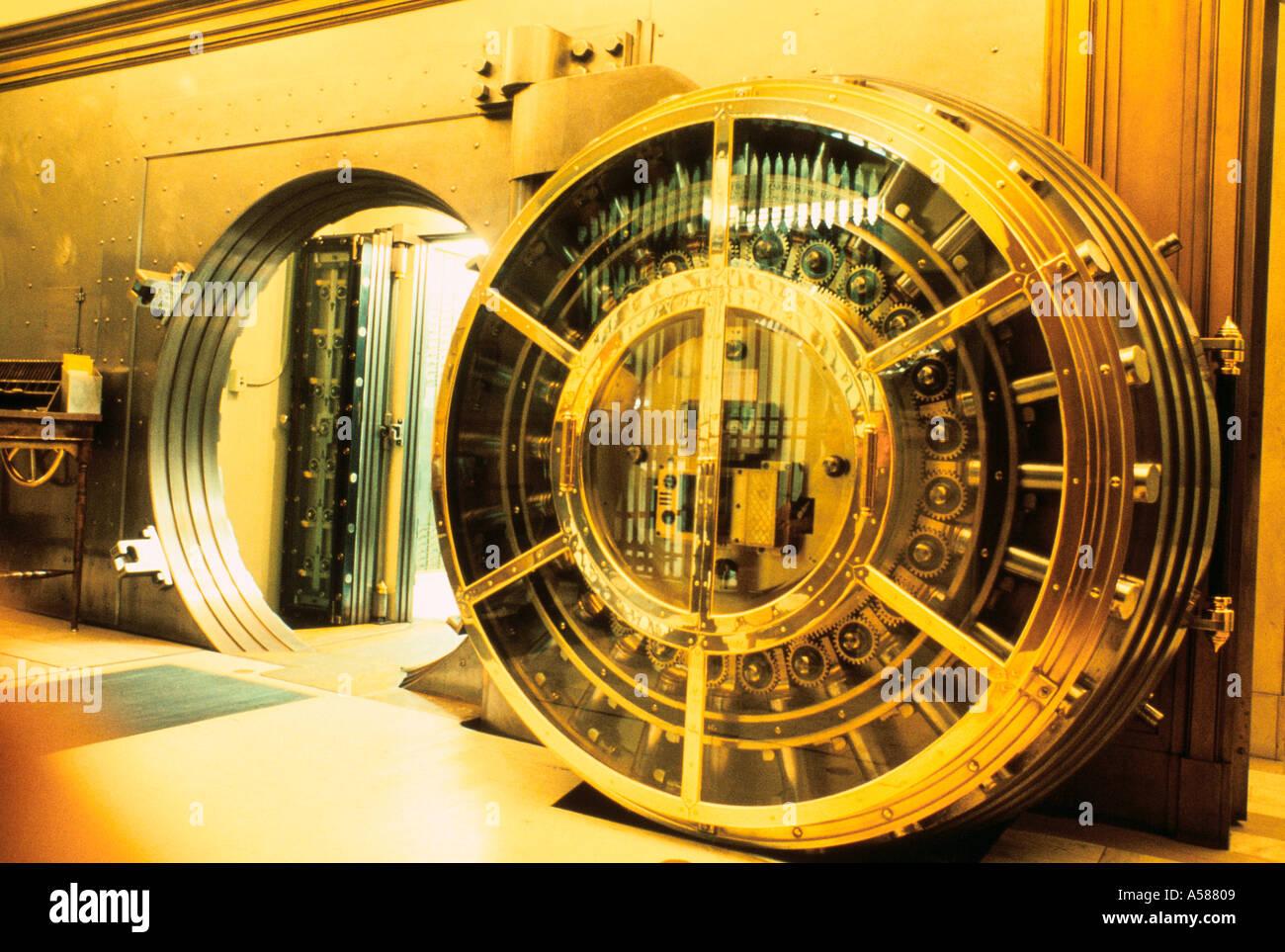 Open Bank Vault Showing Workings Of Huge Vault Door Stock