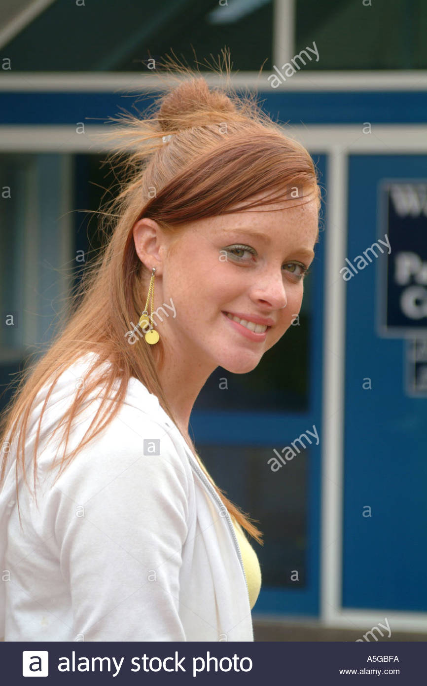 Portrait Of Teenage Girl At Sixth Form College Uk Stock