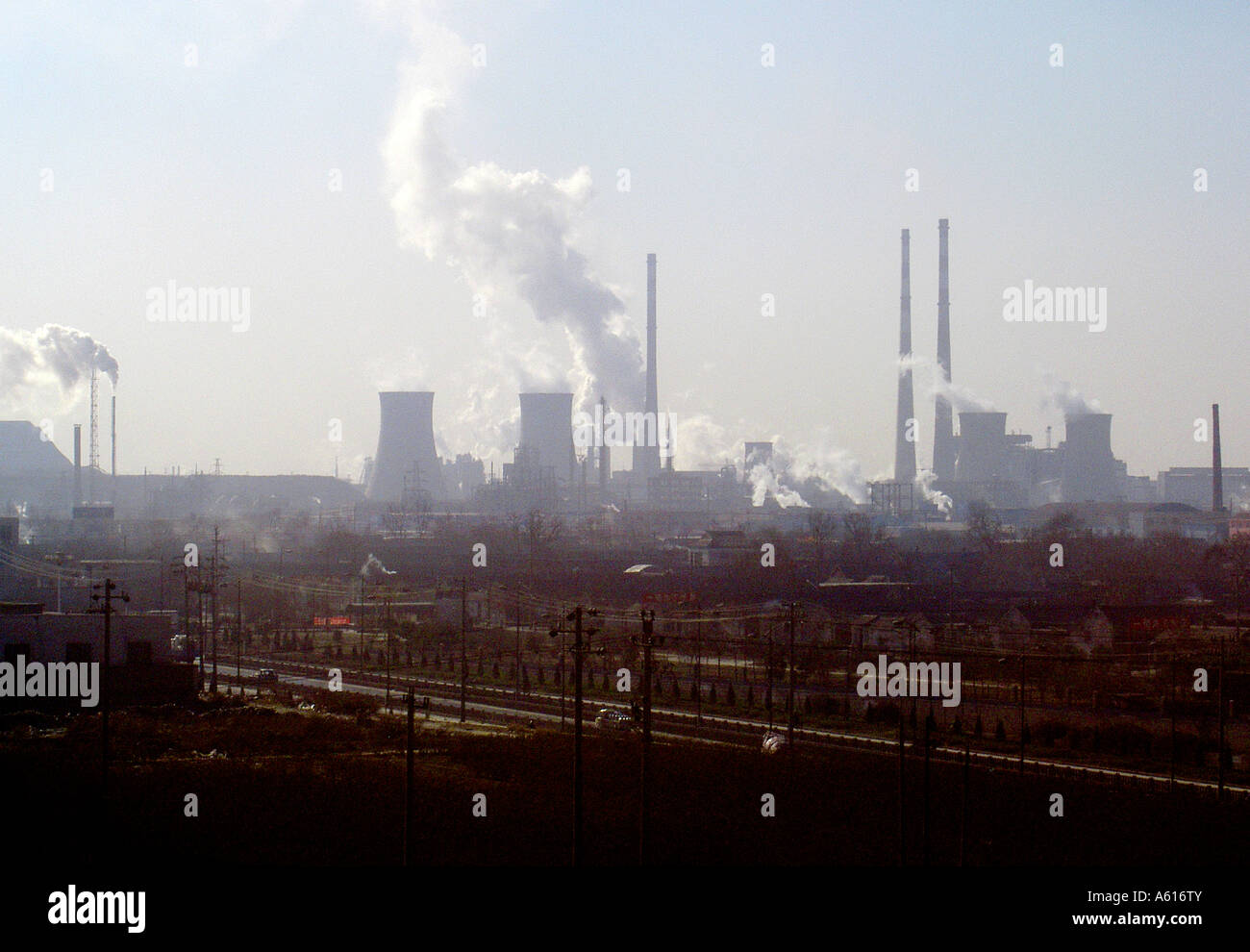 Chinese industrial plant landscape power station chimneys ...