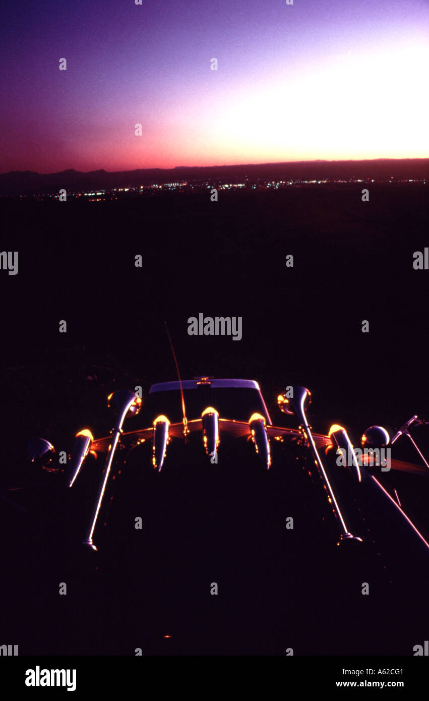 An abstract image of the top of an eighteen wheeler overlooking El Paso Texas at sunset Stock Photo