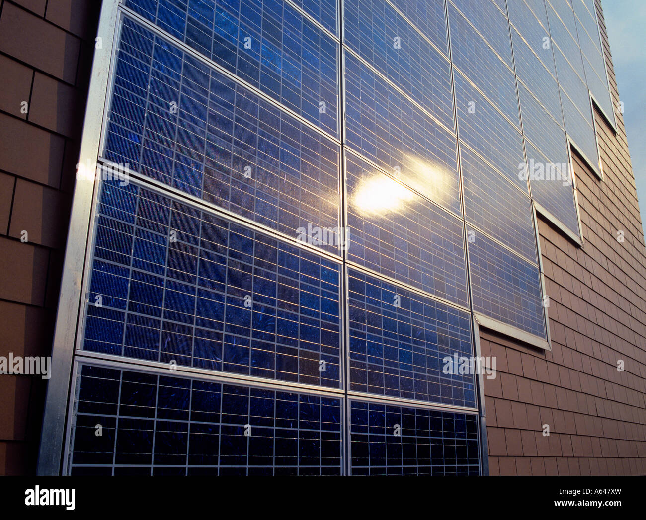 Solar Panel On Side Of Building : Solar power panels at facade of apartment building