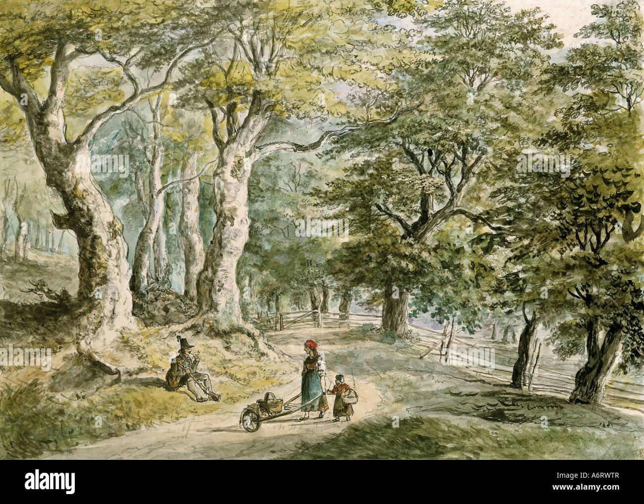 fine arts, Dorner, Johann Jakob, the Younger (1775 - 1852), forrest near Dietramszell, watercolour, 21,6x30 cm, Stock Foto
