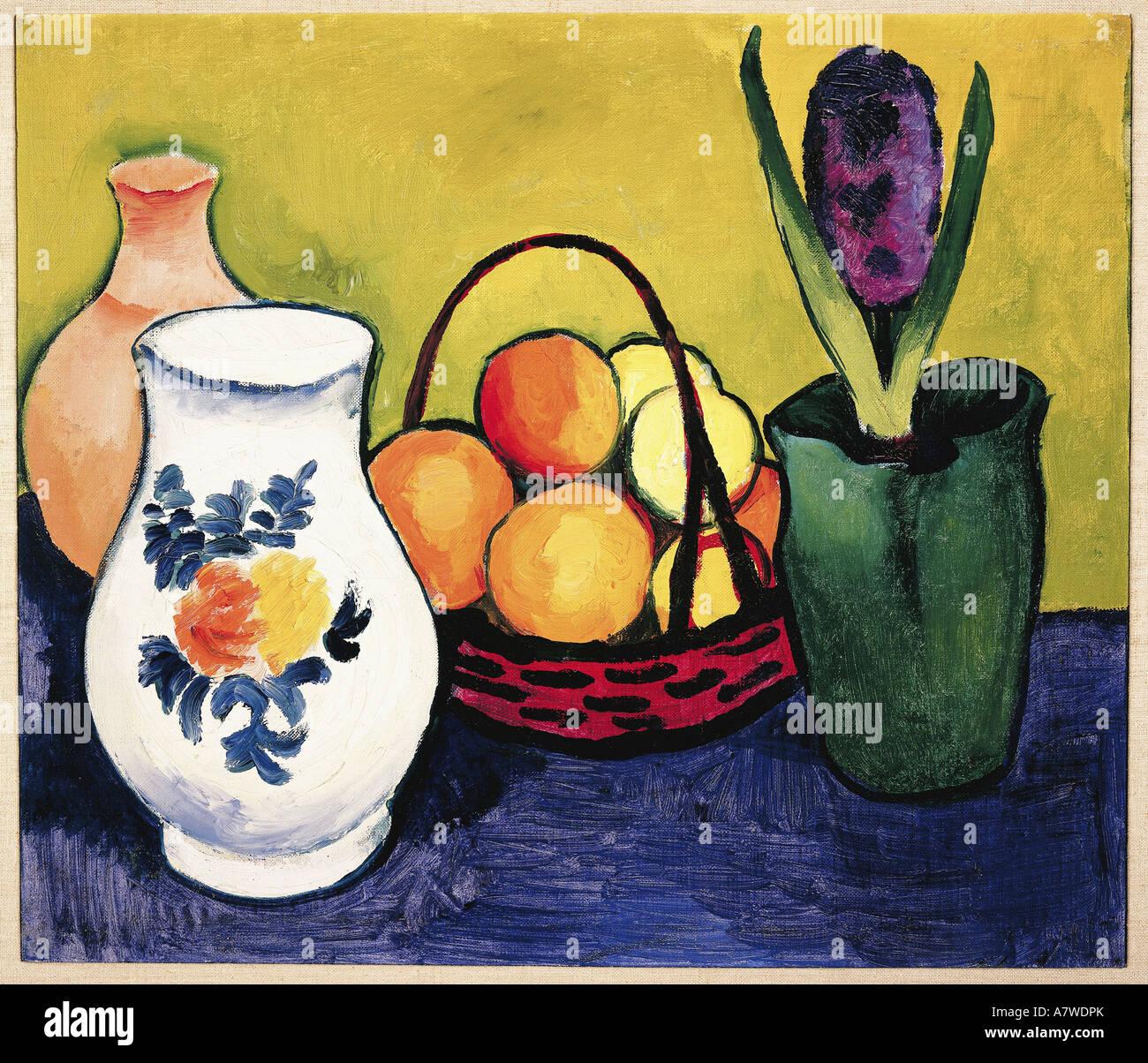 """""""fine arts, Macke, August (1887 - 1914), """"Weisser Krug mit Blumen und Früchten"""", painting, Tegernsee, 1910, oil Stock Foto"""