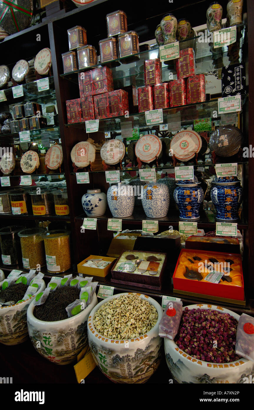 Beijing Ju Xian Ming Tea Co sells a huge variety of teas Stock Photo