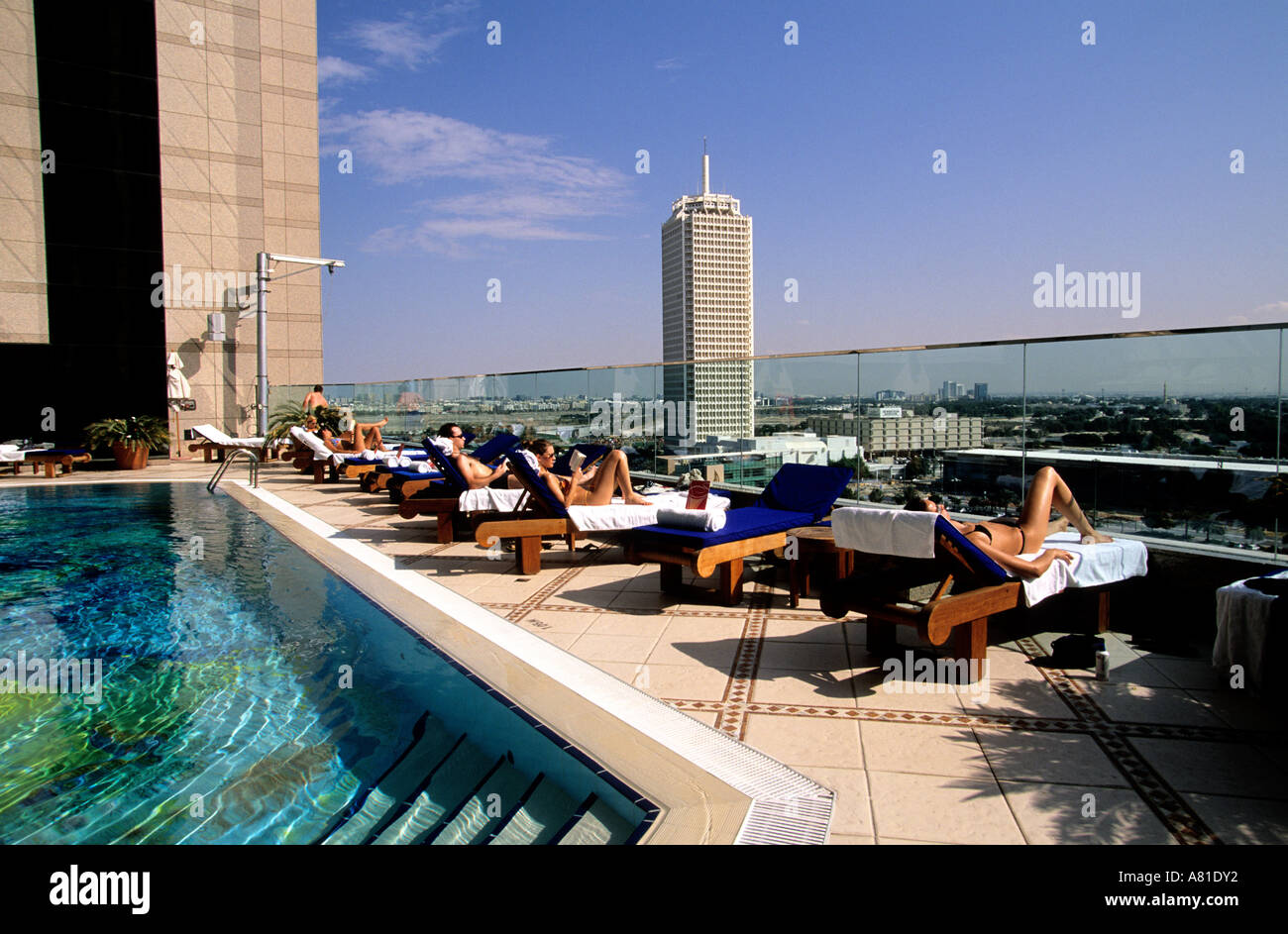 United Arab Emirates Dubai Swimming Pool On The Roof Of Fairmont Stock Photo Royalty Free