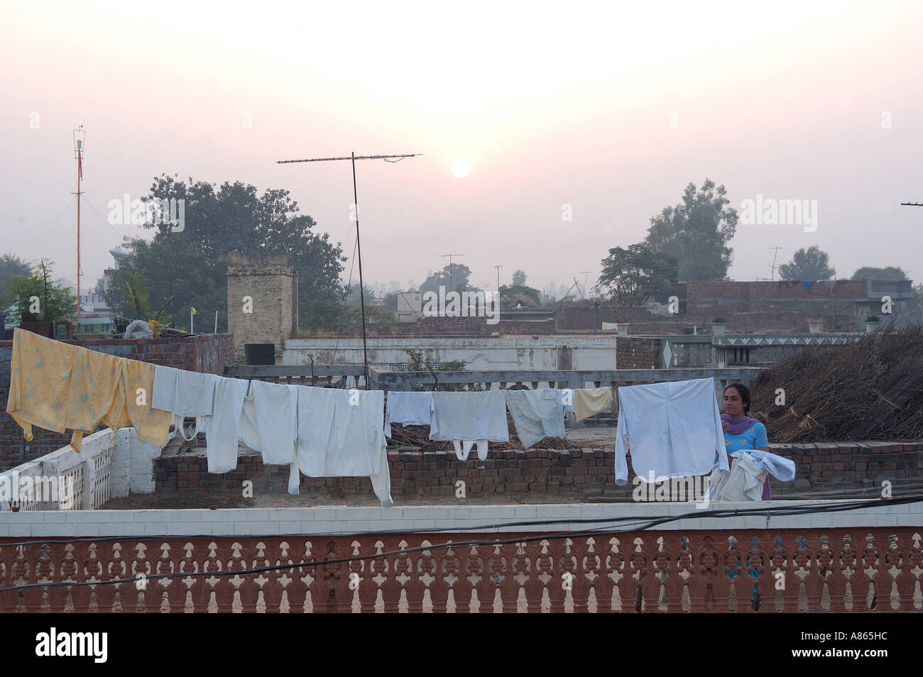 Clothes drying on terrace near amritsar punjab india for Terrace india