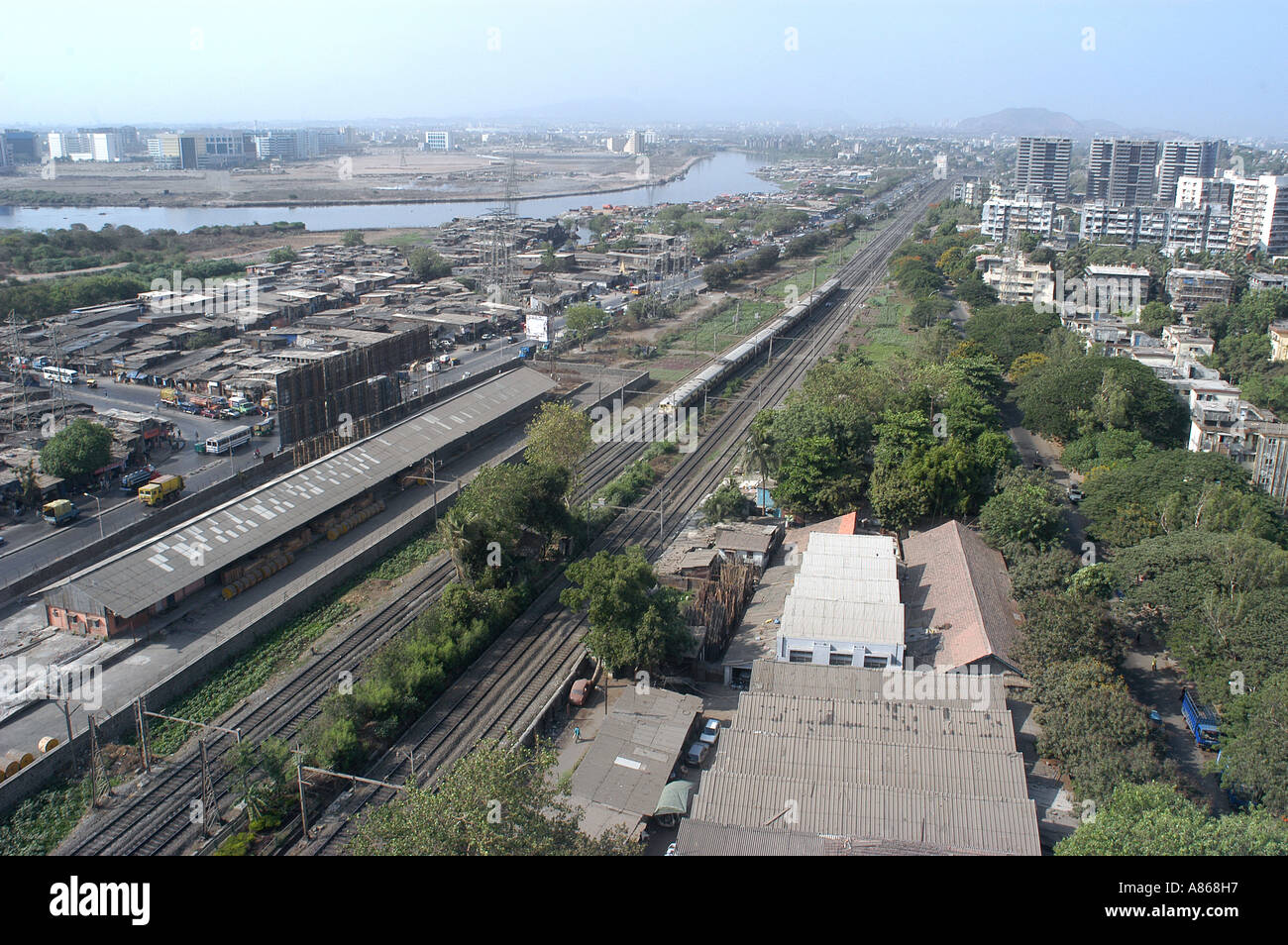 MPD77545 Aerial View Of Sion Kurla Railway Lines With