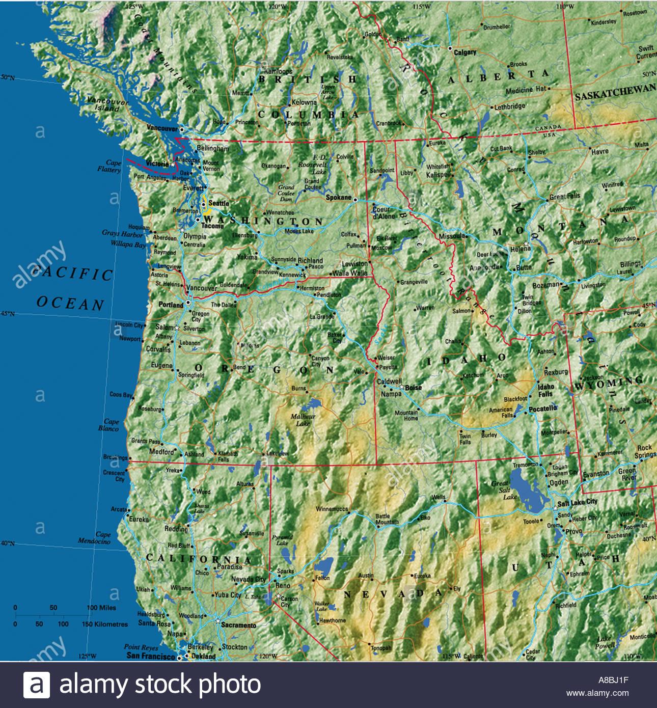 map maps USA California Oregon Washington State