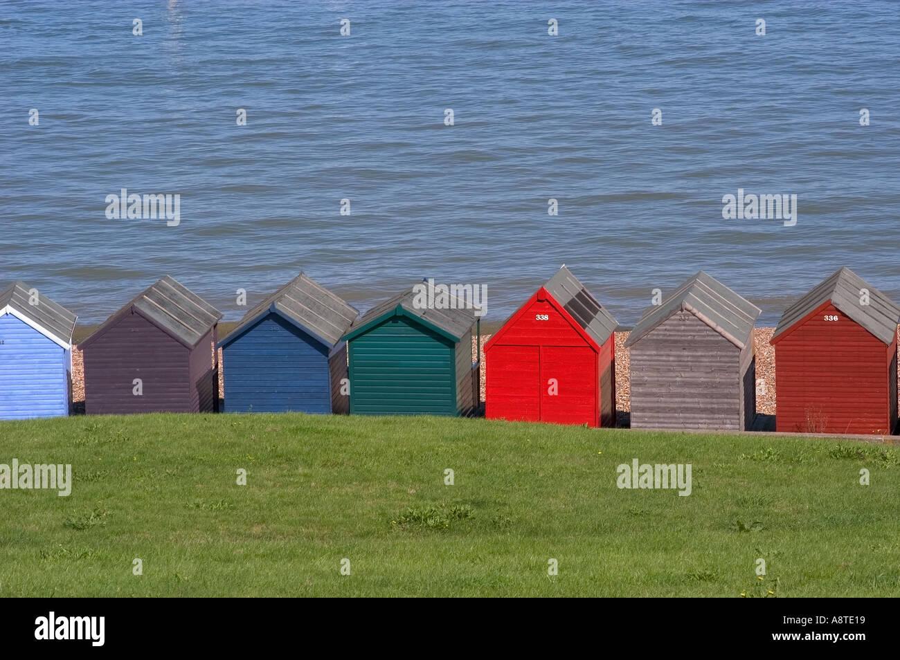 Beach huts at hampton pier herne bay kent stock photo for Model beach huts