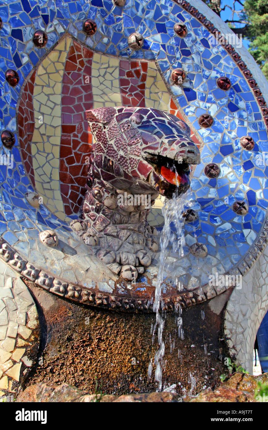 Barcelona Park Guell lizard fountain by Antoni Gaudi Catalonia Spain Europe Stock Photo