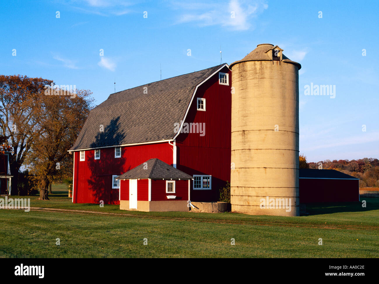 agriculture red barn and silo in autumn with green lawn
