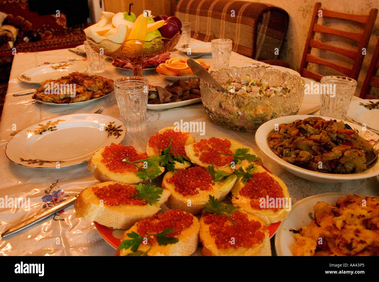 Traditional russian welcome food russian food on a table for Authentic russian cuisine