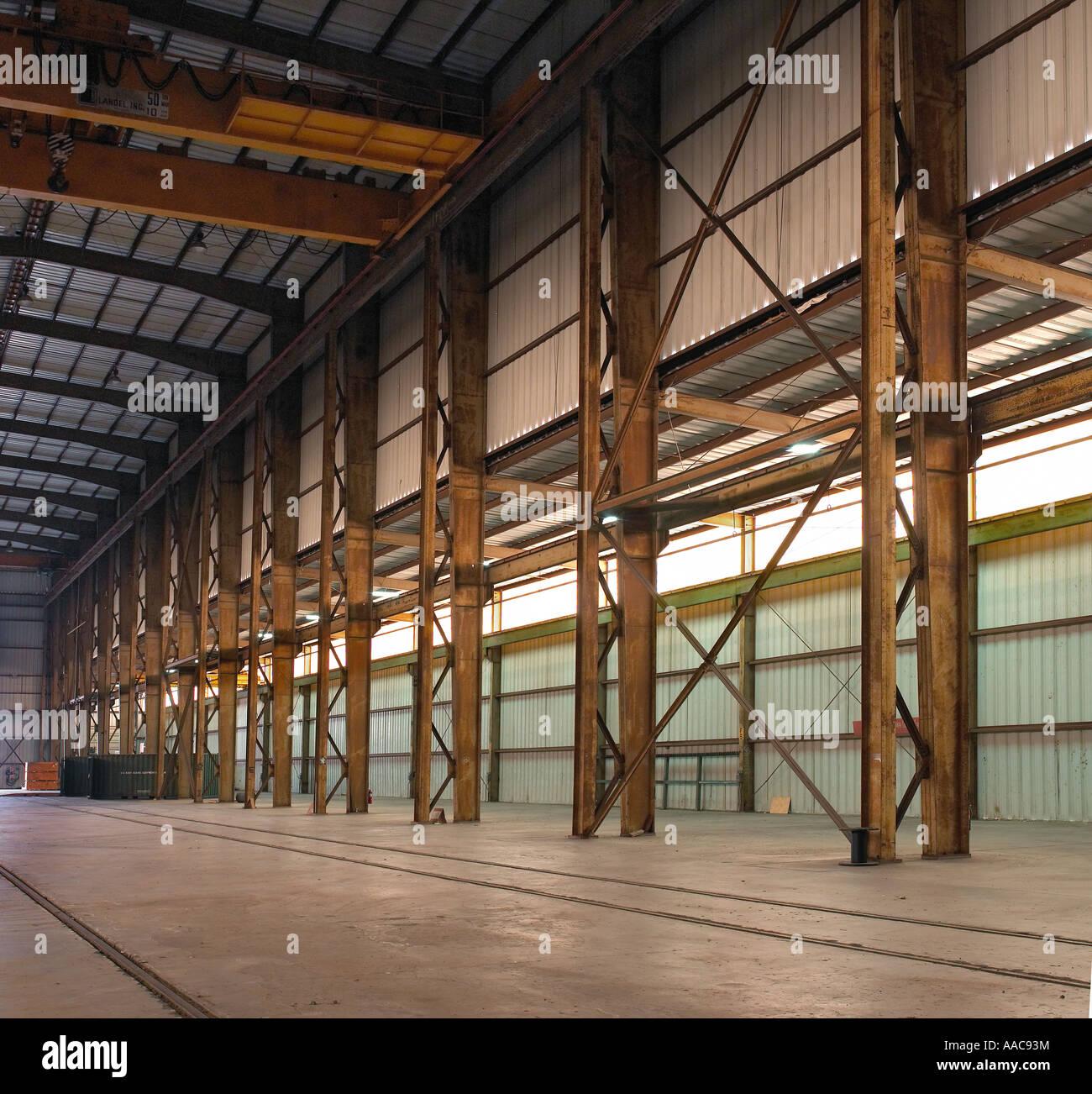 Rusty Beams Girders Inside Old Empty Warehouse Usa Stock