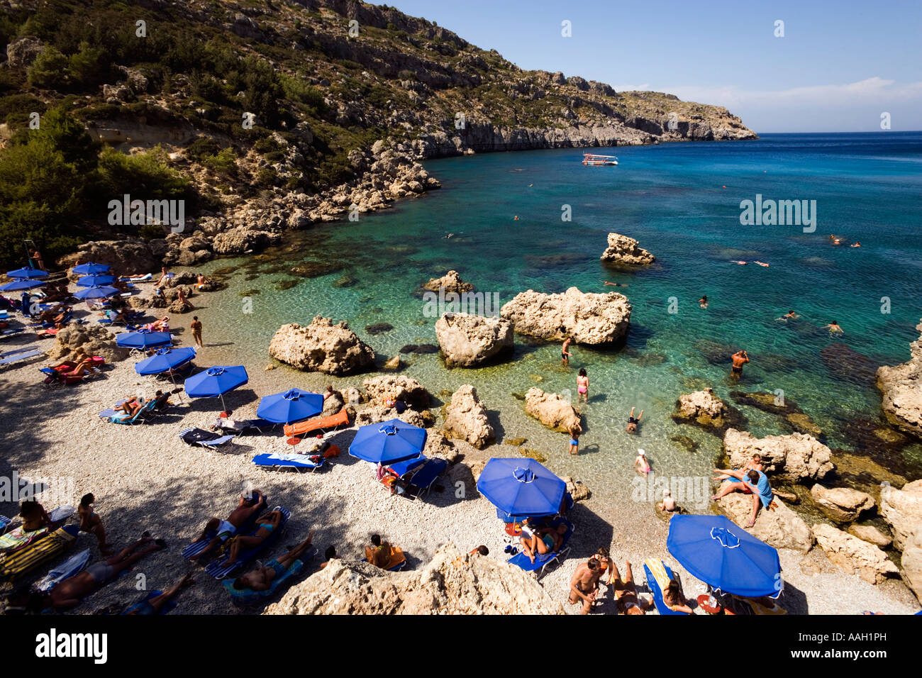 view over beach at anthony quinn bay film location of the film the stock photo royalty free. Black Bedroom Furniture Sets. Home Design Ideas