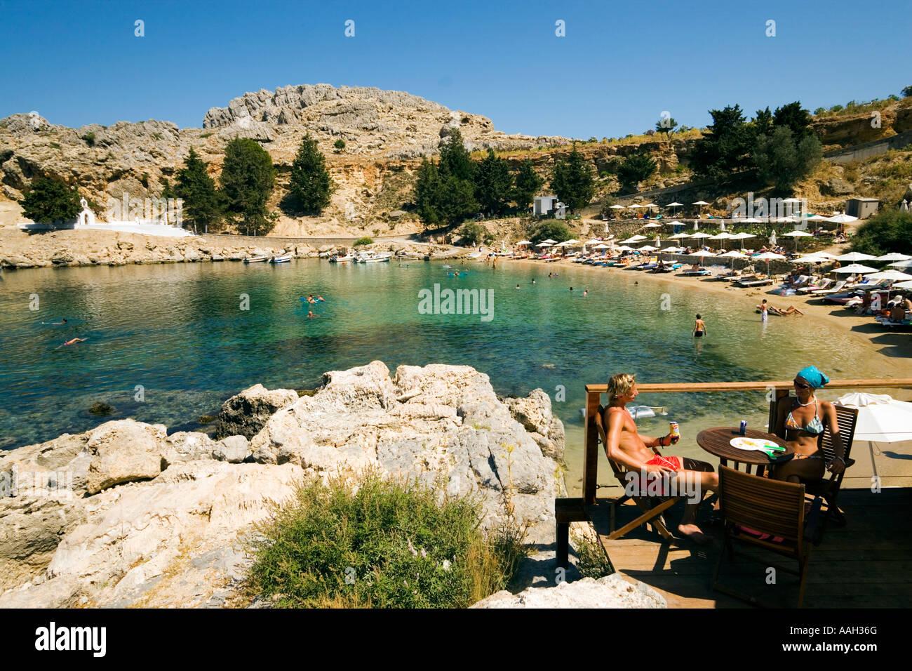 Couple in Beach Bar Saint Paul s Bay Agios Pavlos Lindos ...