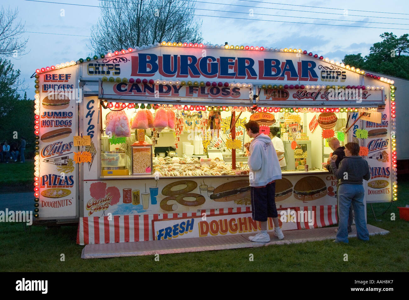A food stall at the funfair at Bardwell in Suffolk Stock ...