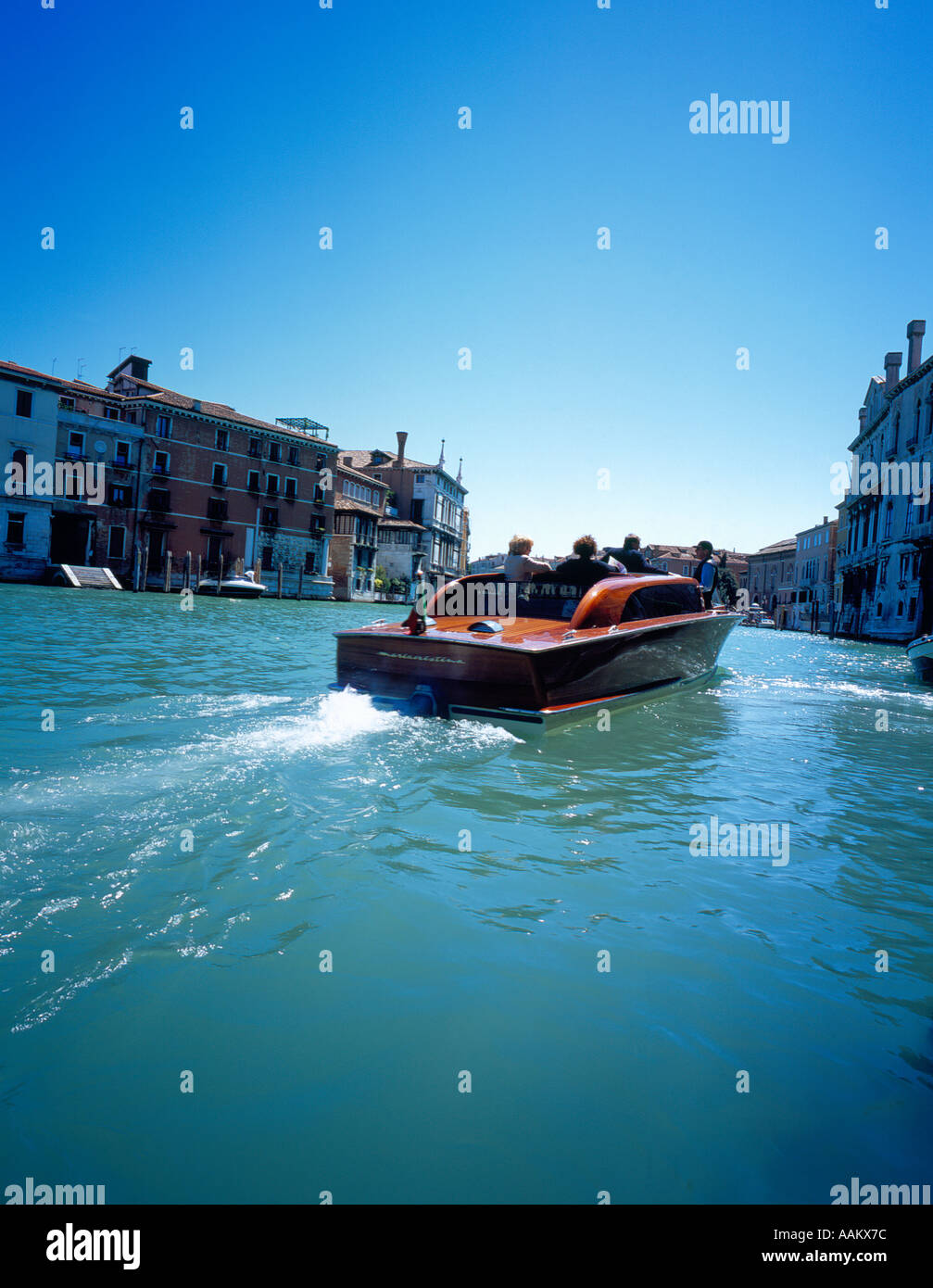 motor boat at Canal Grande Venice Italy Europe. Photo by Willy Matheisl Stock Photo