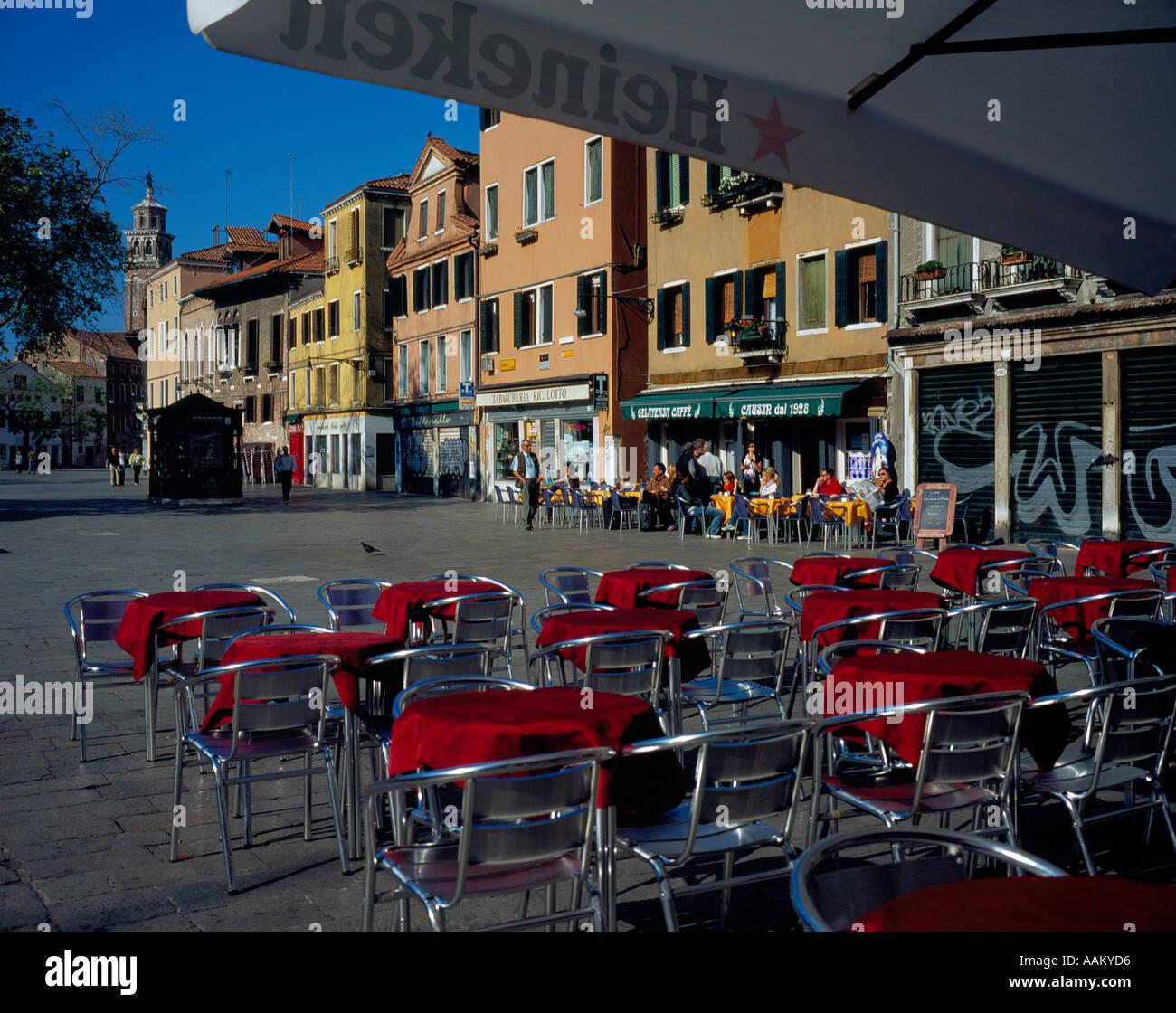 Restaurant at Campo Margharita Venice Italy Europe. Photo by Willy Matheisl Stock Photo