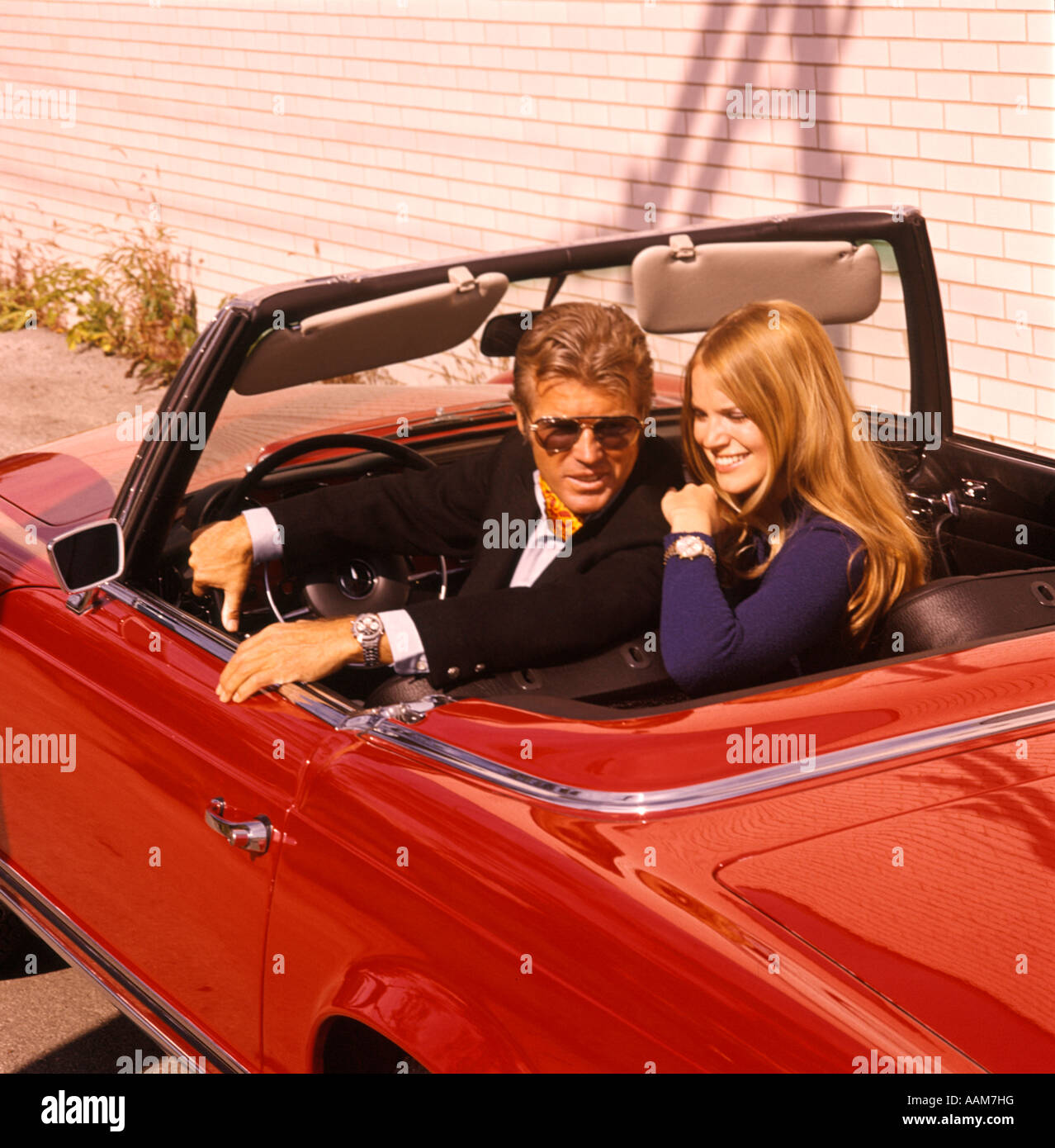 Couple Man Woman Sports Car Convertible Swingers Suave Hip