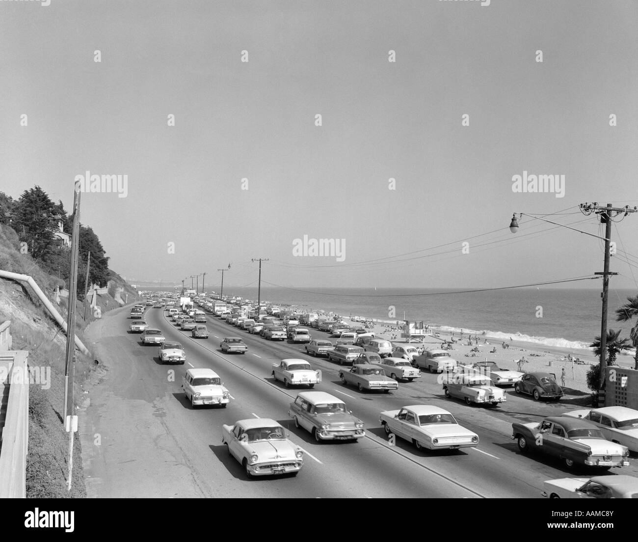 1950s 1960s highway traffic cars along malibu beach santa for Malibu motors santa monica