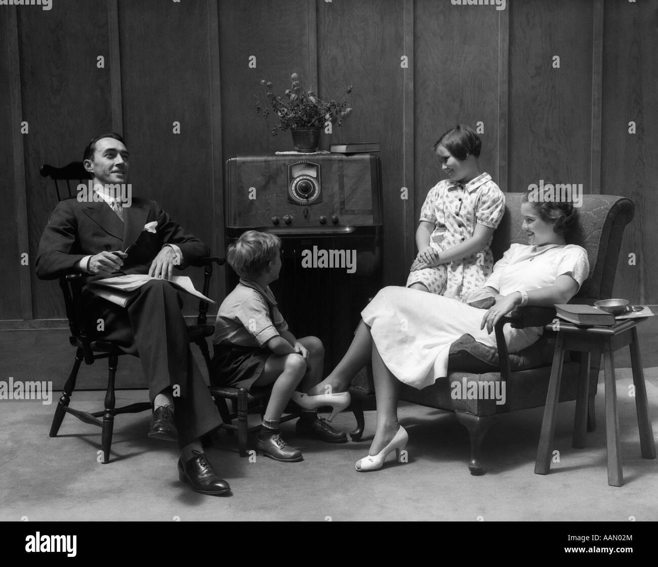 1930s 1940s family sitting in living room listening to for Living room 1930s