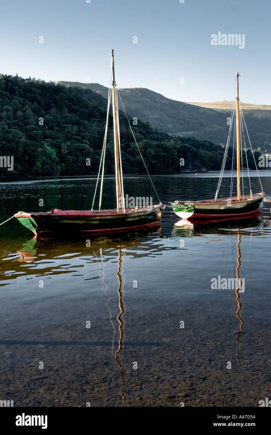 Boats on Ullswater Lake District Cumbria England UK Stock Photo