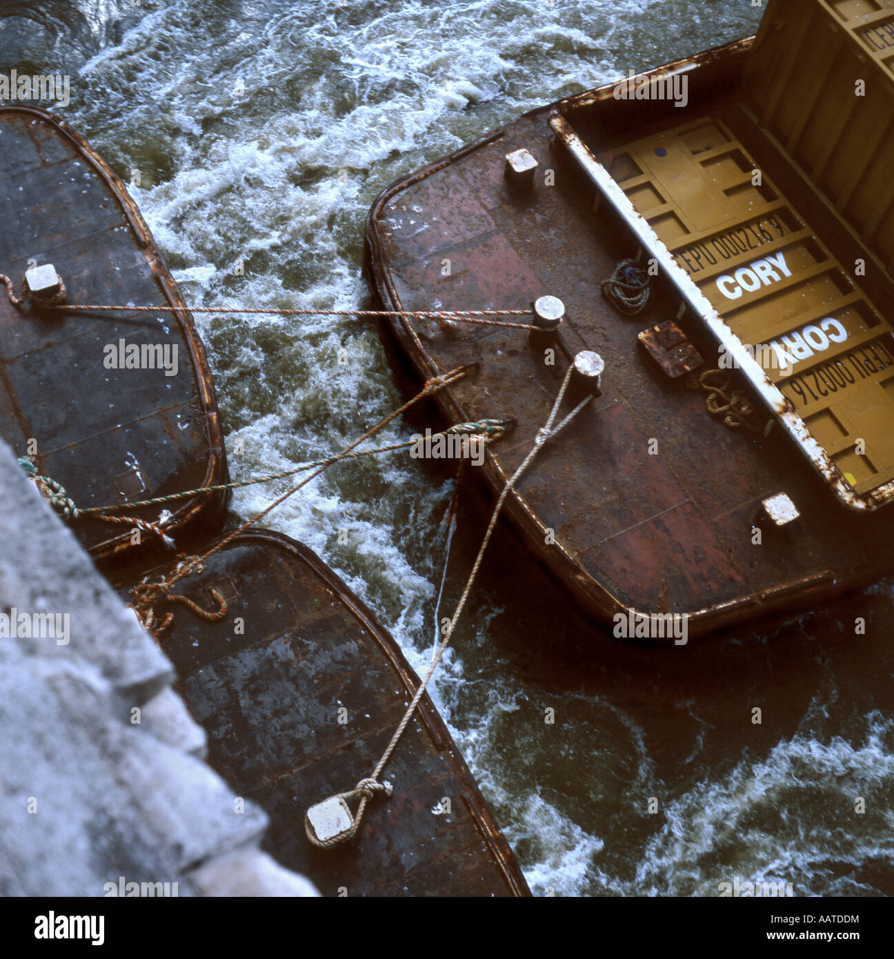 Tow Arrangement Of Tug Boat Towing Two Barges Stock Photo