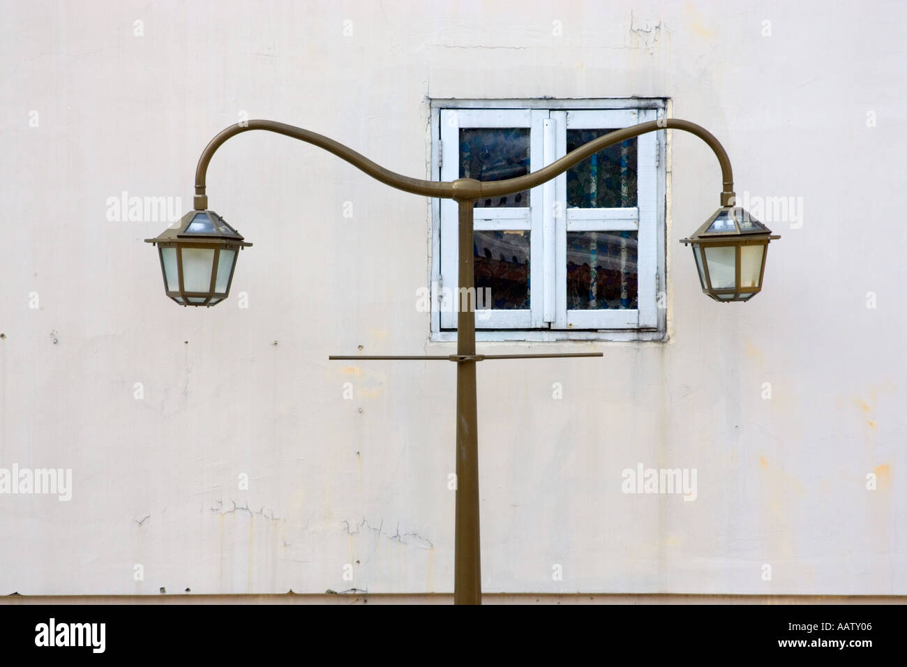 Street lamp and small window in Chinatown Singapore Stock Photo