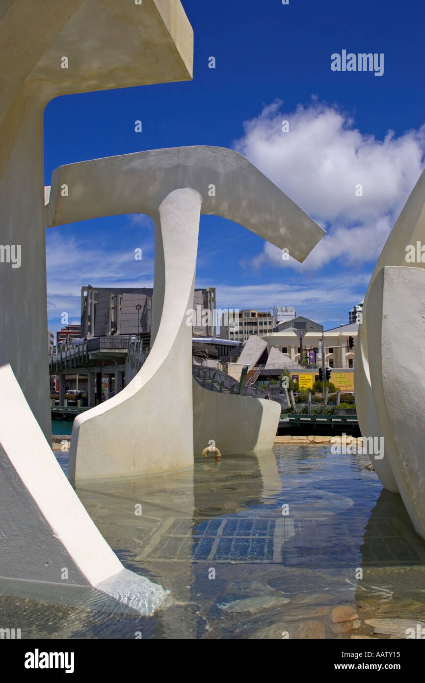 Detail of a sculpture in Wellington Quayside in New Zealand Stock Photo