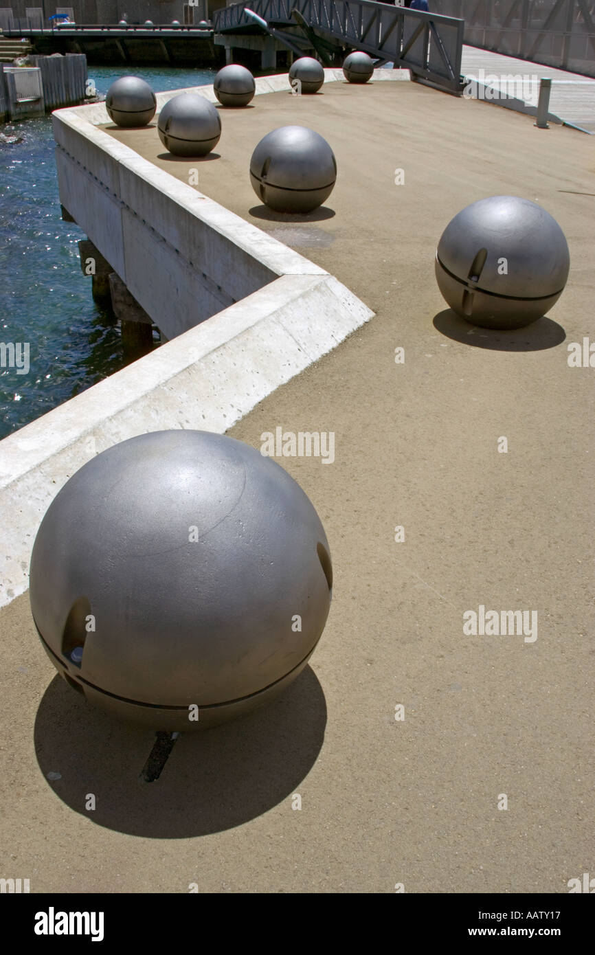 Balls on the quayside in Wellington New Zealand Stock Photo