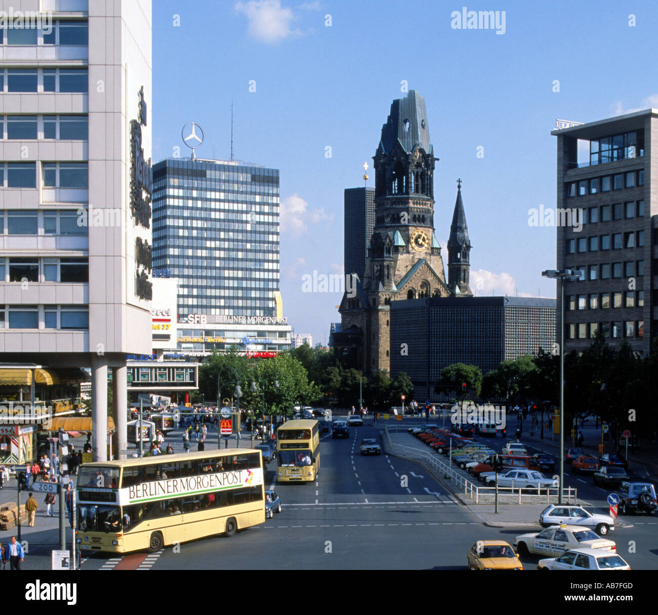 traffic on ku damm strasse with kaiser wilhelm memorial church in stock photo royalty free. Black Bedroom Furniture Sets. Home Design Ideas