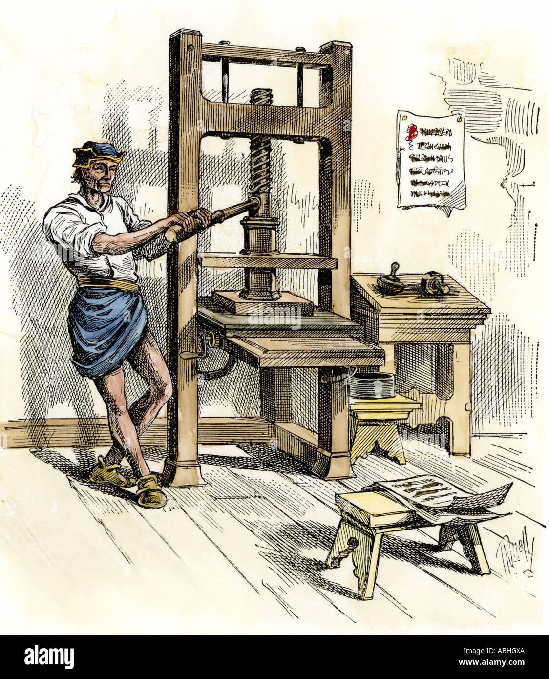 Gutenberg printing press labeled diagram