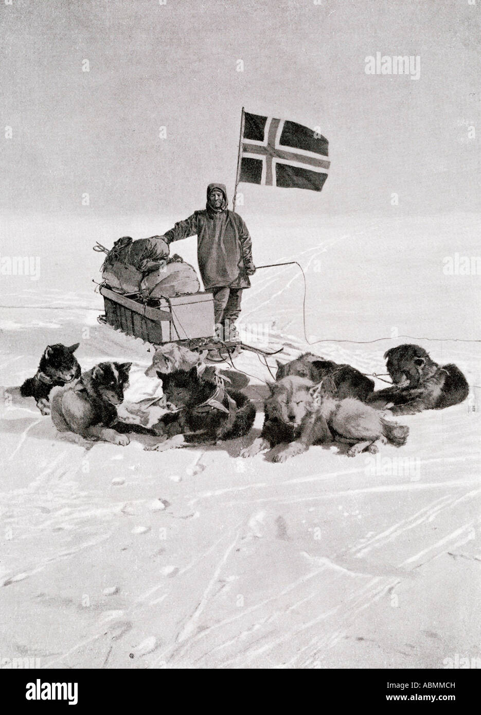 Captain Roald Engelbregt Gravning Amundsen 1872 to 1928 At the South pole under the Norwegian flag Stock Foto