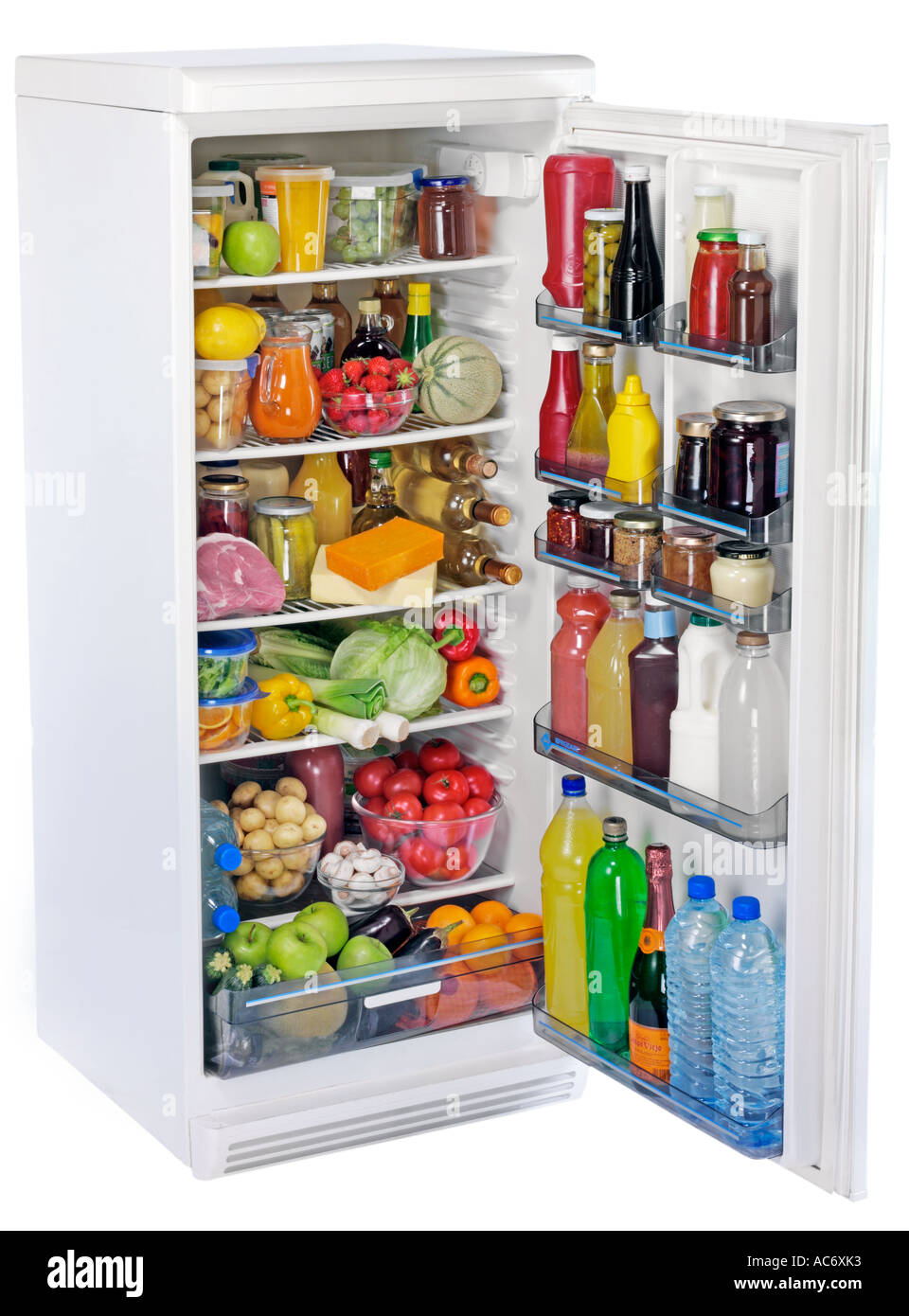 OPEN FULL FRIDGE CUT OUT Stock Photo, Royalty Free Image