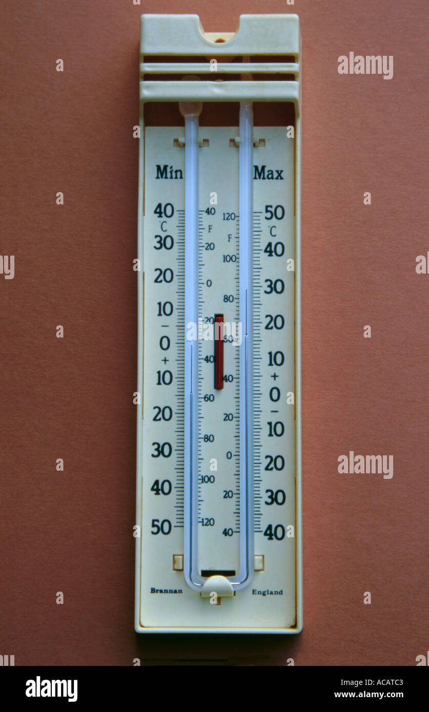 alcohol and mercury filled maximum and minimum thermometer stock photo 4276418 alamy. Black Bedroom Furniture Sets. Home Design Ideas