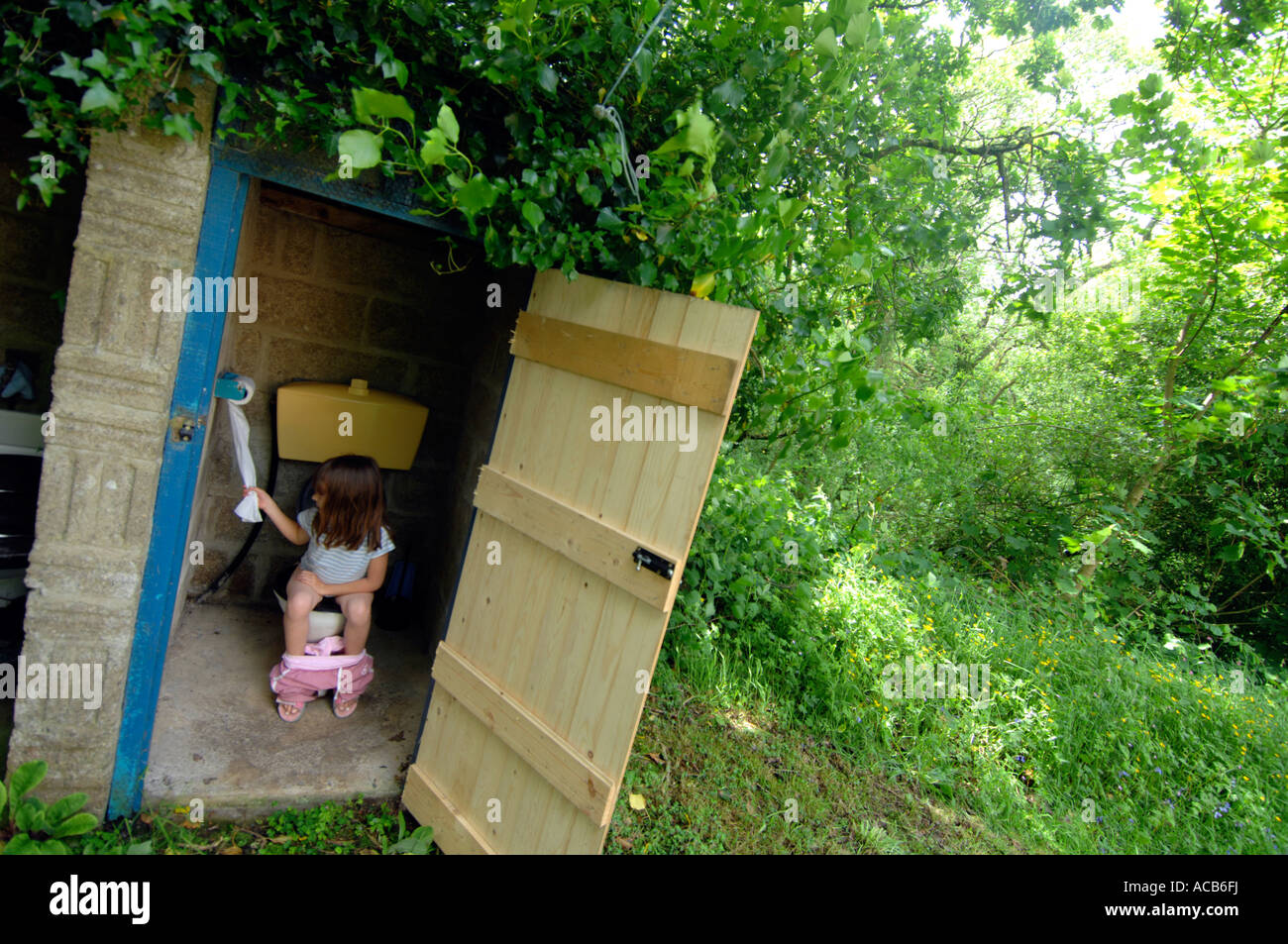 How To A To Use The Bathroom Outside Toilet Outside Toilet Using An Outdoor Toilet Stock