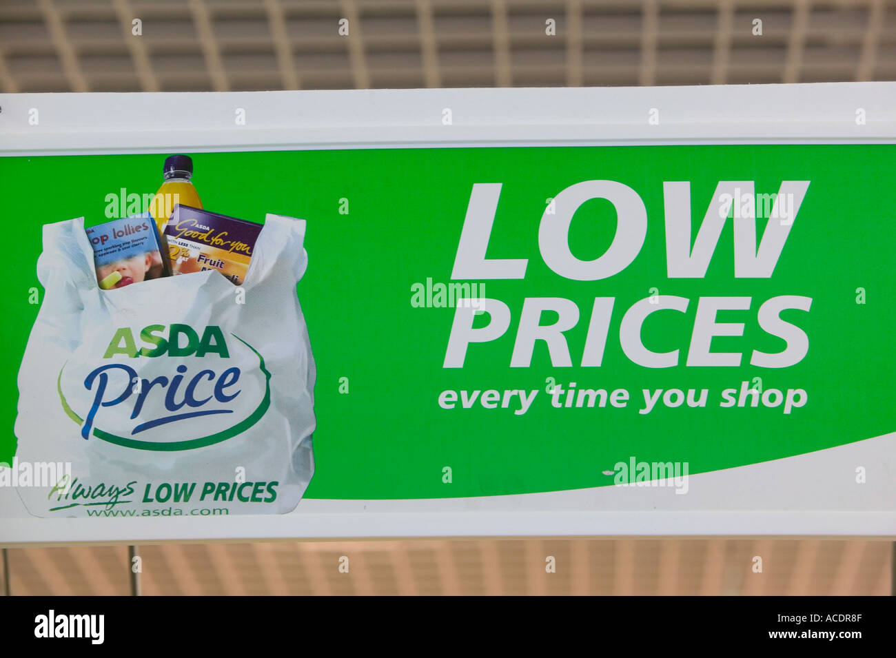 Low prices sign in an asda supermarket stock photo - Asda stores ltd head office ...
