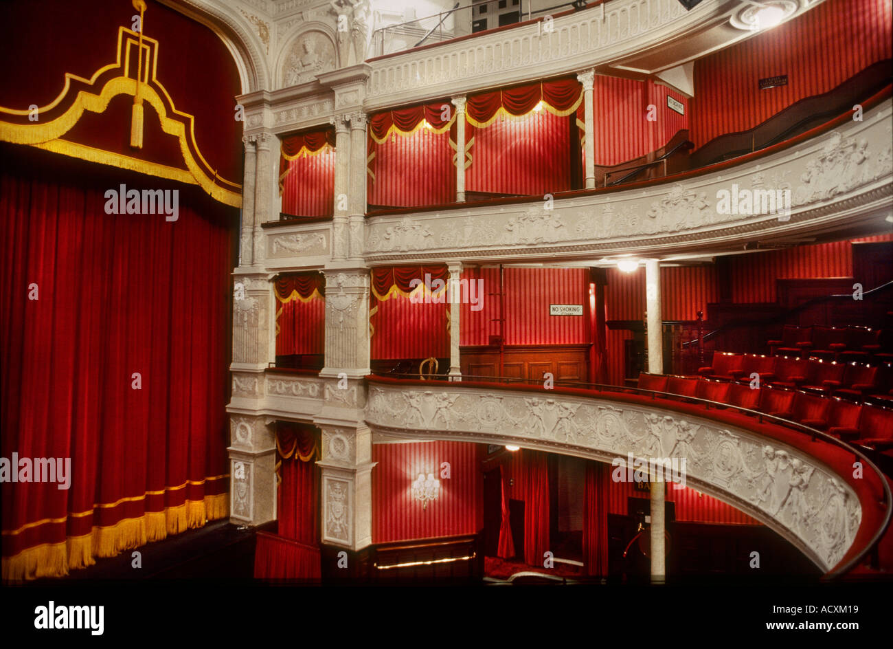 Side View Of Theatre Boxes And Stage Curtain In The