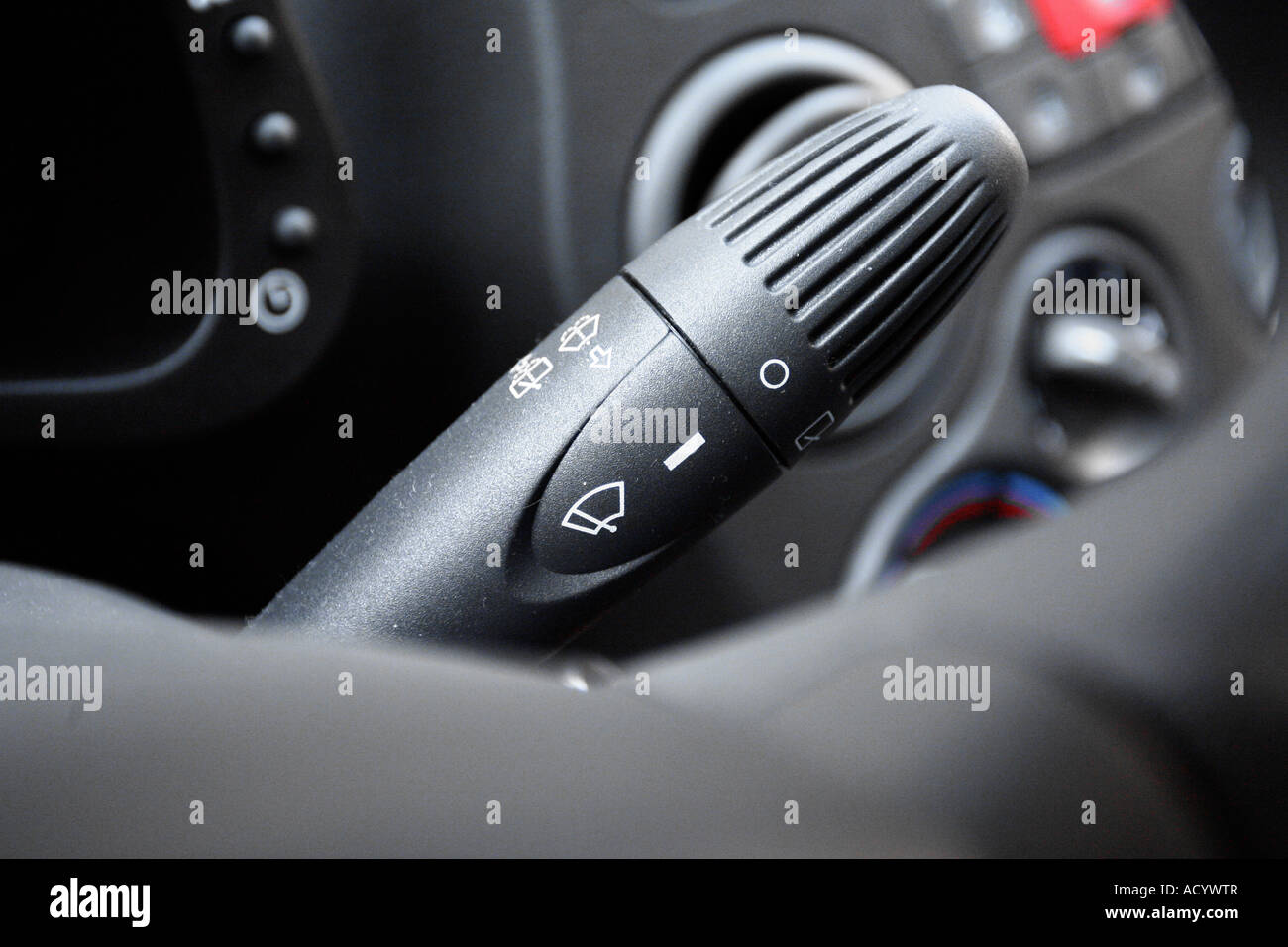 Hand Controls For Cars >> close up of turn signal indicator switch light and other controls in Stock Photo, Royalty Free ...