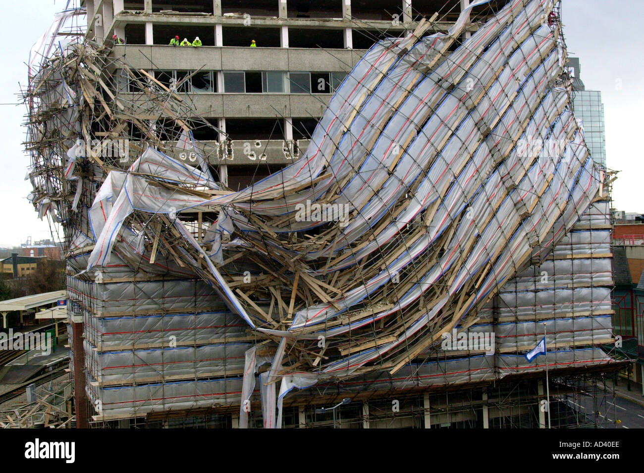 Aftermath of high winds in Cardiff scaffolding collapse on ...