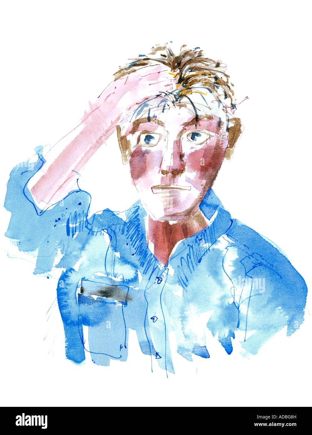 Self-portrait pen and wash drawing - Ed Buziak. Stock Photo