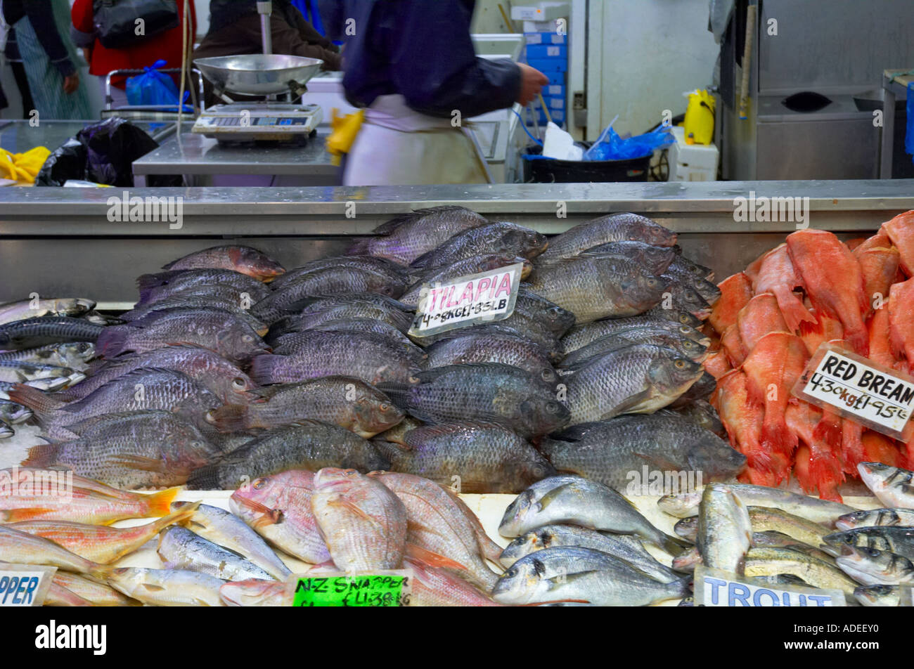 Seafood at queens market in upton park east london uk for Fish market queens