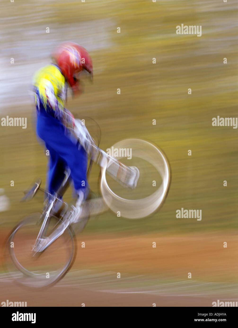 Bmx Bike Rider In Air Off Jump Cottage Grove Oregon Stock