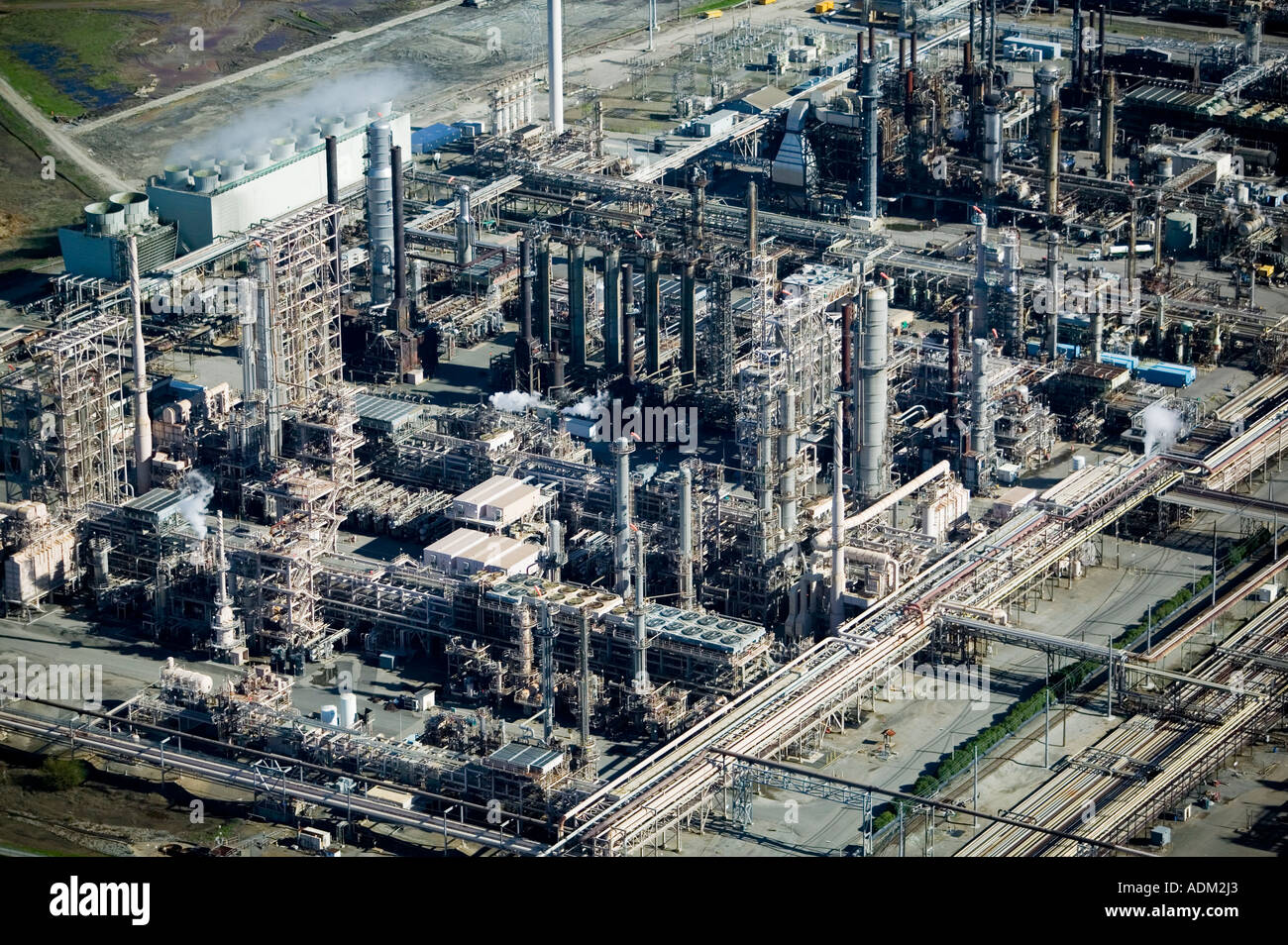 Aerial photograph of Chevron refinery, in Richmond, California, San Francisco Bay Stock Photo