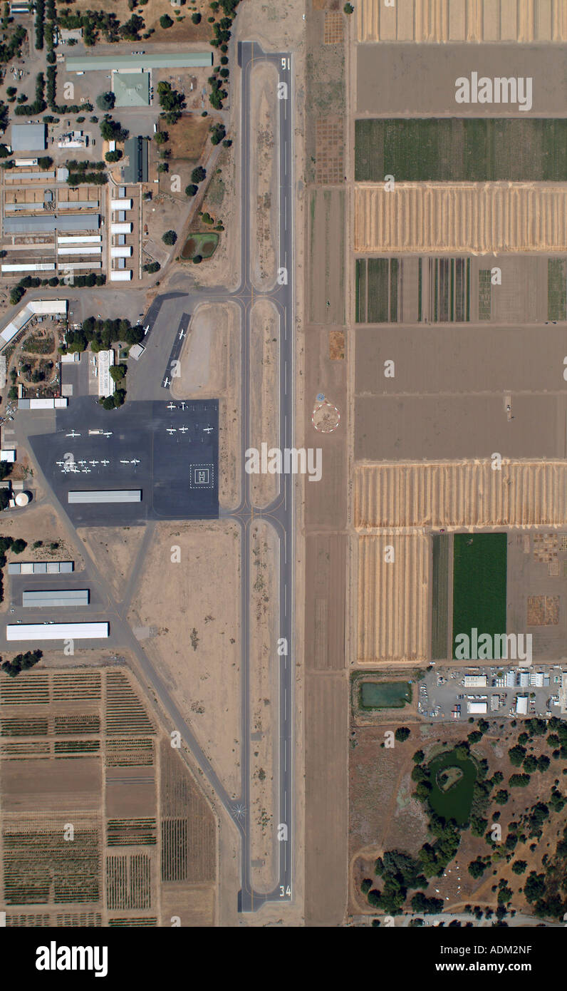 aerial view straight down on University Airport at University of California at Davis California Stock Photo