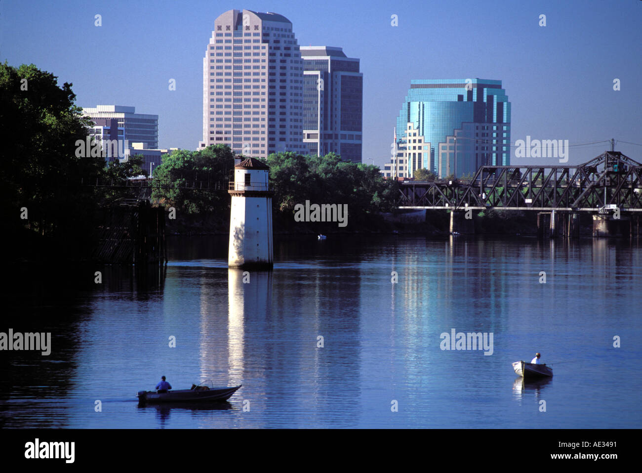 California, Sacramento, Fishing on the Sacramento River Stock Photo