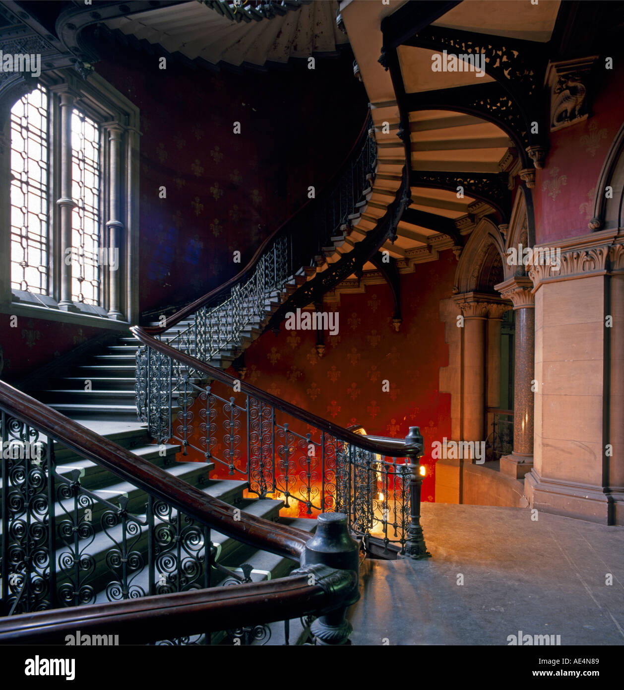 Grand Victorian gothic staircase inside St Pancras Chambers London NW1 England  Stock Foto