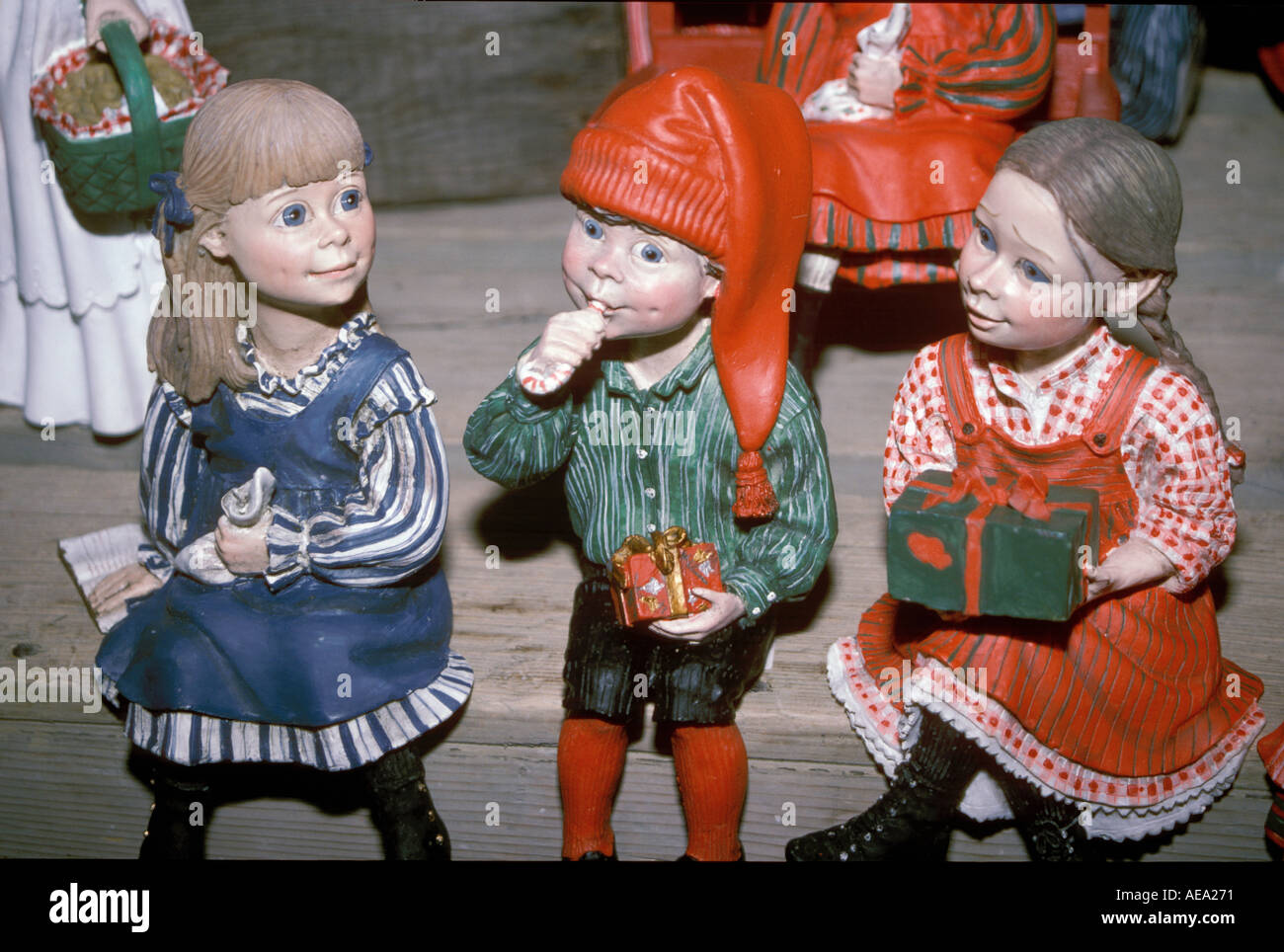 Christmas figurines boys and girls in Norway Stock Photo